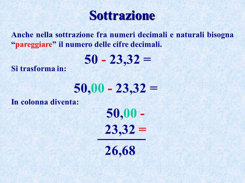 Sottrazione Anche nella sottrazione fra numeri decimali e naturali bisognapareggiare il numero delle cifre decimali.