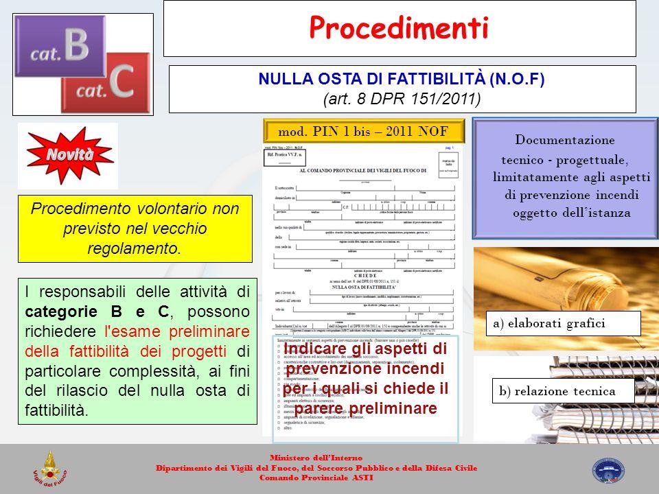 mod. PIN 1 bis – 2011 NOF Documentazione tecnico - progettuale, limitatamente agli aspetti di prevenzione incendi oggetto dellistanza a) elaborati gra