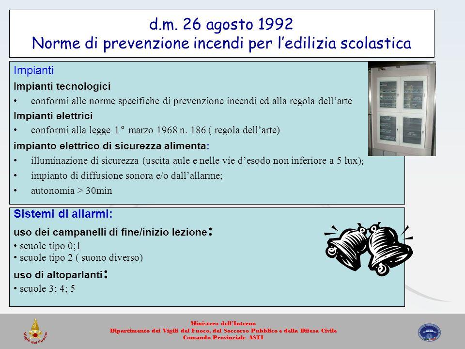 d.m. 26 agosto 1992 Norme di prevenzione incendi per ledilizia scolastica Impianti Impianti tecnologici conformi alle norme specifiche di prevenzione