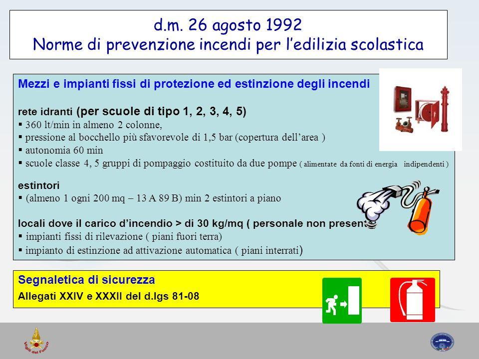 d.m. 26 agosto 1992 Norme di prevenzione incendi per ledilizia scolastica Mezzi e impianti fissi di protezione ed estinzione degli incendi rete idrant