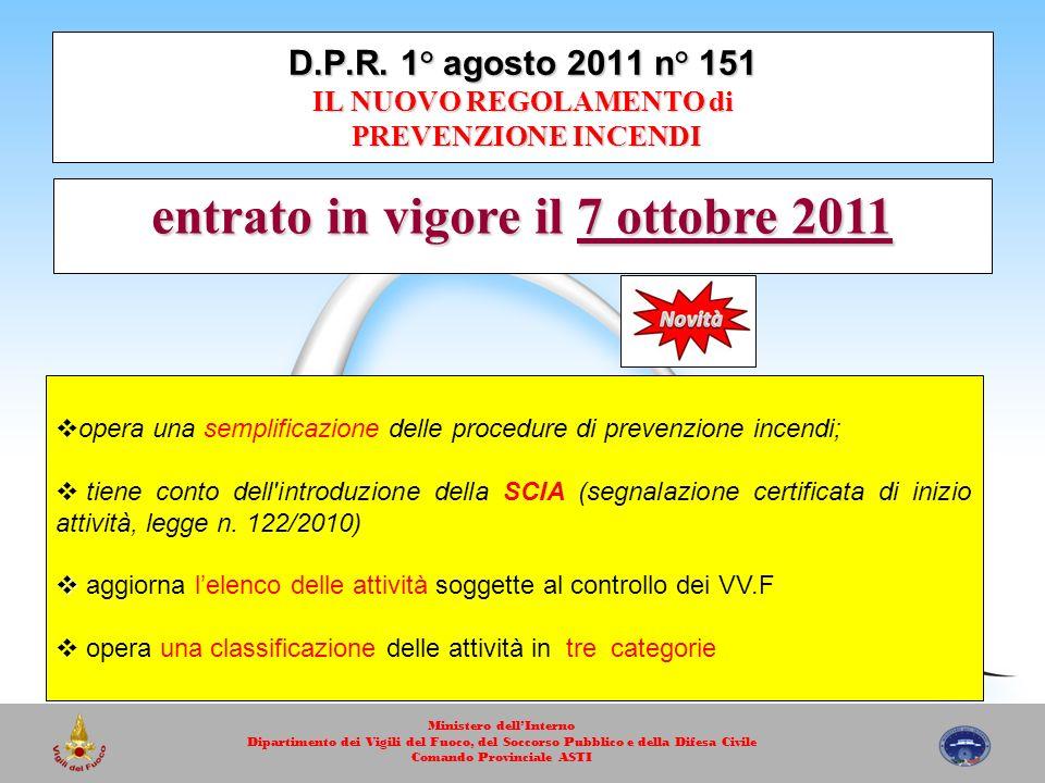 D.P.R. 1° agosto 2011 n° 151 IL NUOVO REGOLAMENTO di PREVENZIONE INCENDI entrato in vigore il 7 ottobre 2011 opera una semplificazione delle procedure