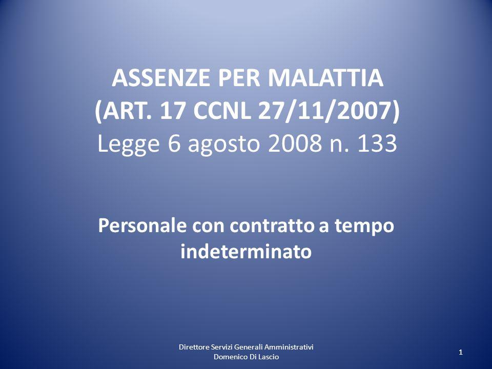 Direttore Servizi Generali Amministrativi Domenico Di Lascio 1 ASSENZE PER MALATTIA (ART. 17 CCNL 27/11/2007) Legge 6 agosto 2008 n. 133 Personale con