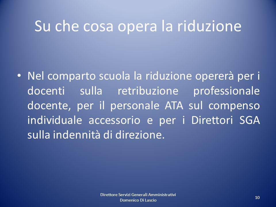 Direttore Servizi Generali Amministrativi Domenico Di Lascio 10 Su che cosa opera la riduzione Nel comparto scuola la riduzione opererà per i docenti