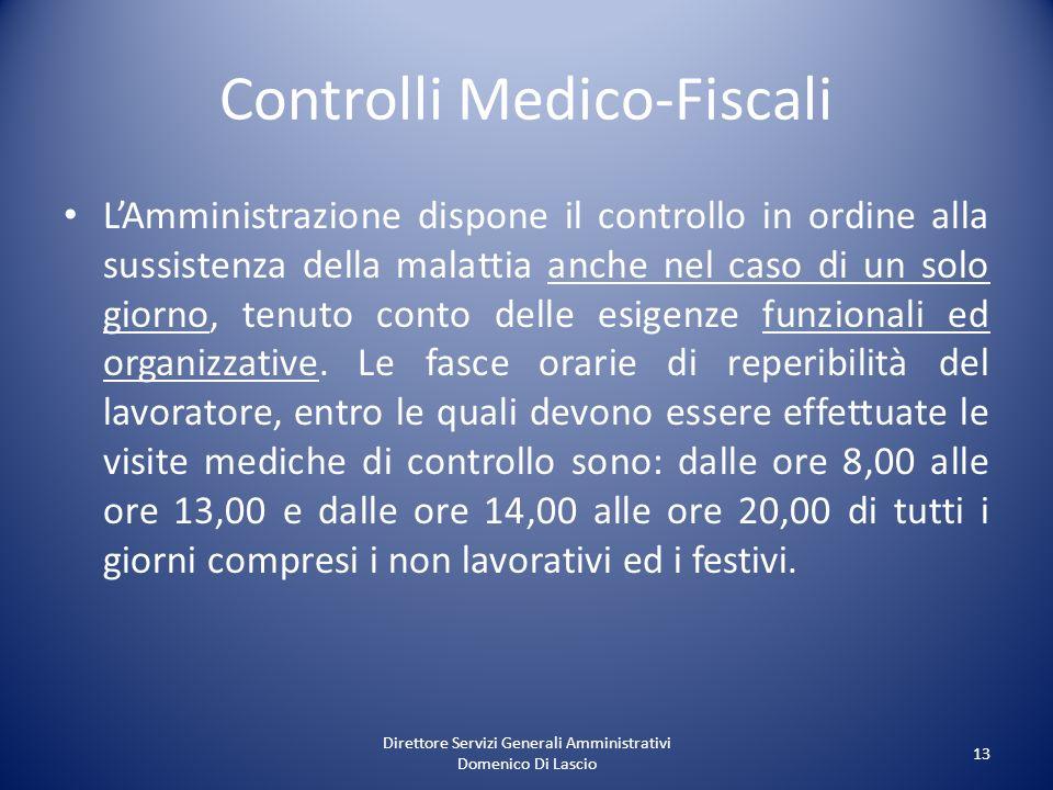 Direttore Servizi Generali Amministrativi Domenico Di Lascio 13 Controlli Medico-Fiscali LAmministrazione dispone il controllo in ordine alla sussiste