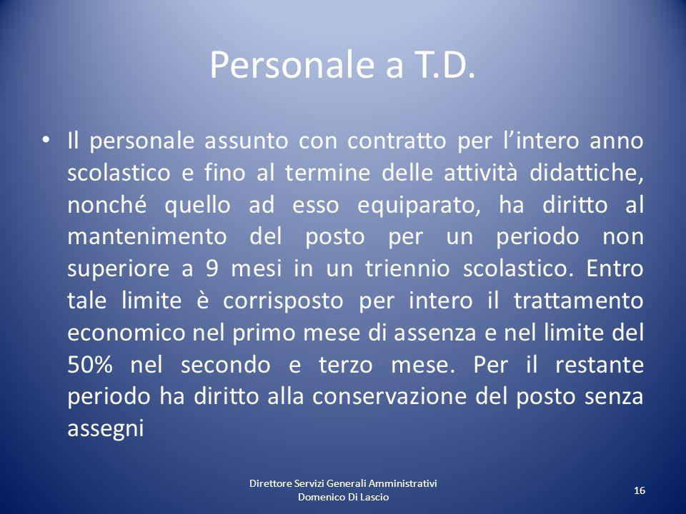 Direttore Servizi Generali Amministrativi Domenico Di Lascio 16 Personale a T.D. Il personale assunto con contratto per lintero anno scolastico e fino