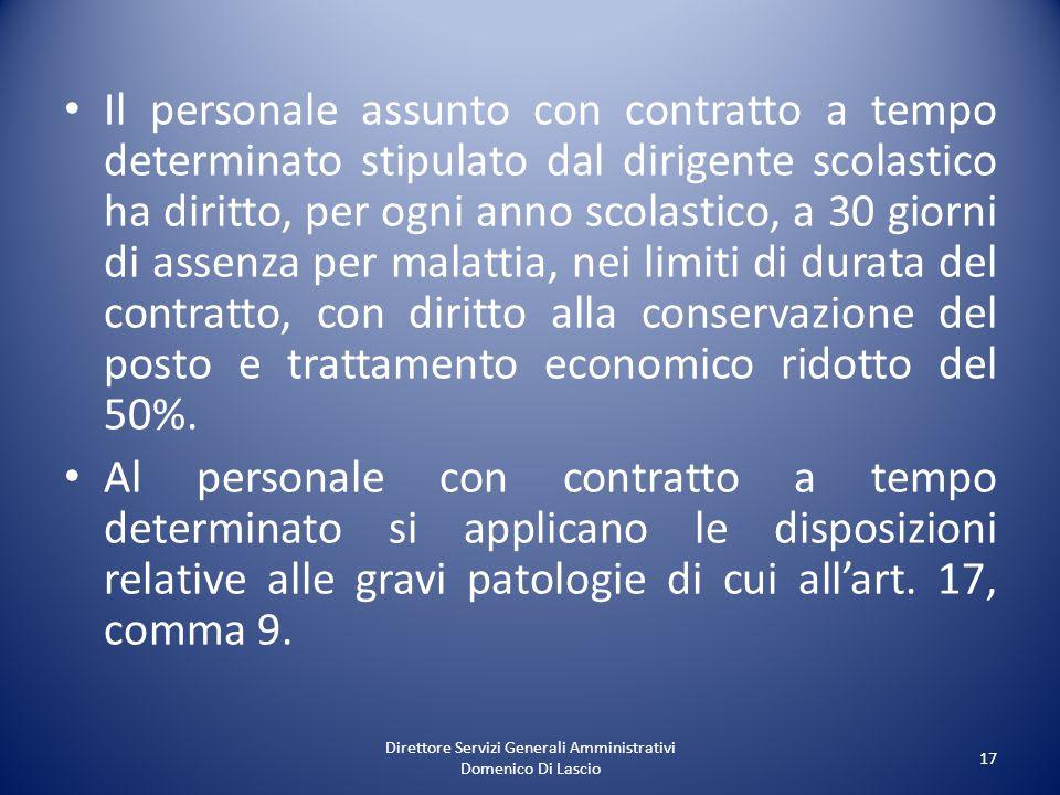 Direttore Servizi Generali Amministrativi Domenico Di Lascio 17 Il personale assunto con contratto a tempo determinato stipulato dal dirigente scolast