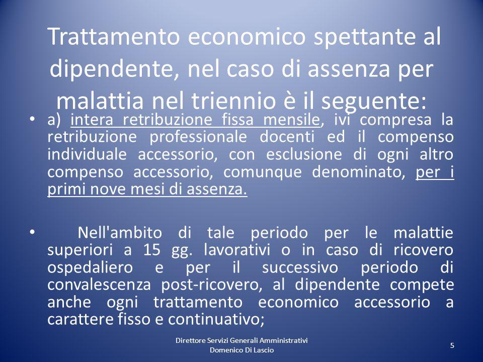 Direttore Servizi Generali Amministrativi Domenico Di Lascio 5 Trattamento economico spettante al dipendente, nel caso di assenza per malattia nel tri