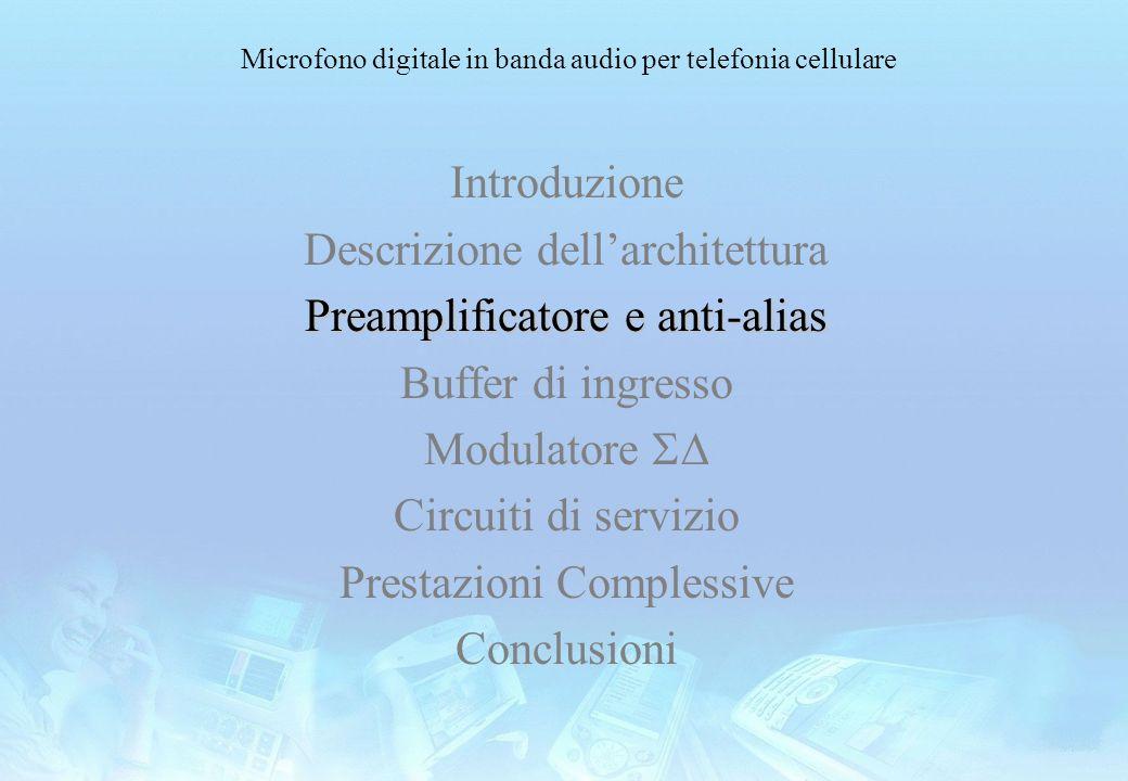 Microfono digitale in banda audio per telefonia cellulare Introduzione Descrizione dellarchitettura Preamplificatore e anti-alias Buffer di ingresso M