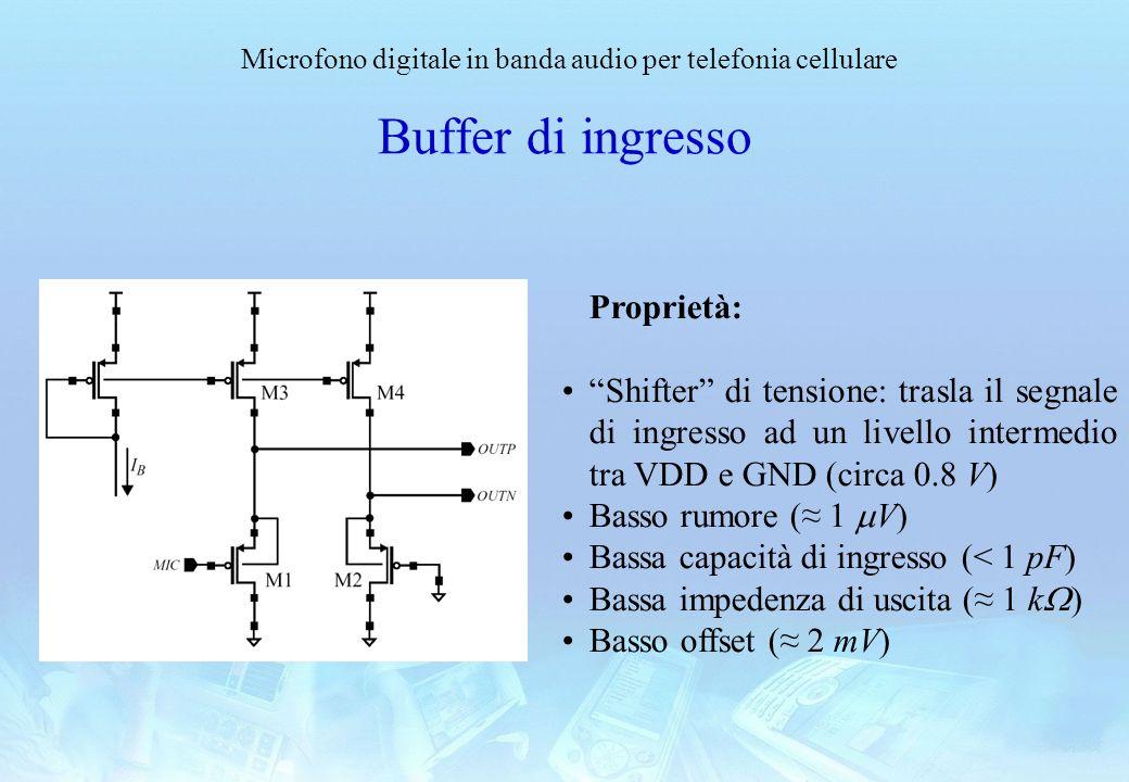 Microfono digitale in banda audio per telefonia cellulare Buffer di ingresso Proprietà: Shifter di tensione: trasla il segnale di ingresso ad un livel