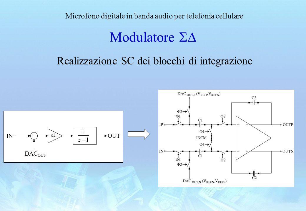 Microfono digitale in banda audio per telefonia cellulare Modulatore Realizzazione SC dei blocchi di integrazione c1 IN OUT DAC OUT