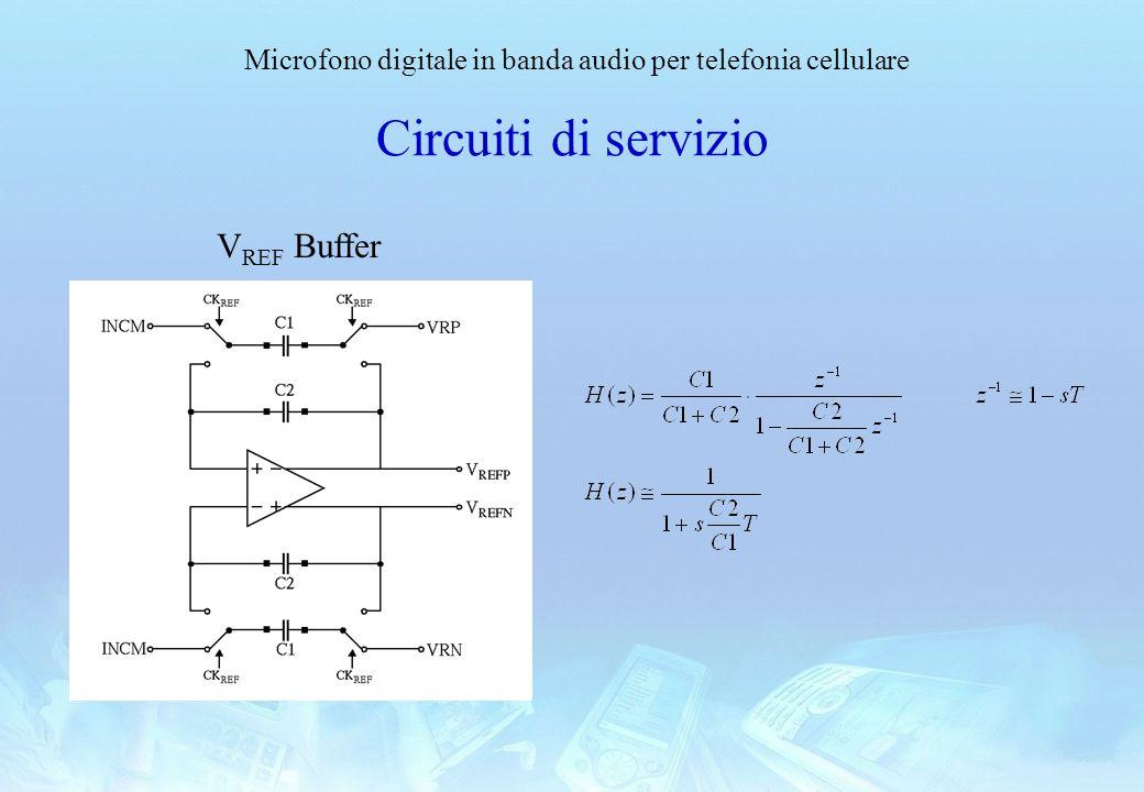 Microfono digitale in banda audio per telefonia cellulare Circuiti di servizio V REF Buffer