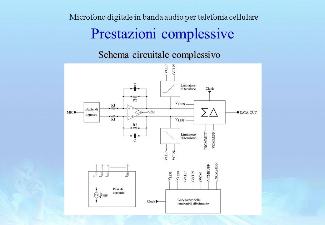 Microfono digitale in banda audio per telefonia cellulare Prestazioni complessive Schema circuitale complessivo