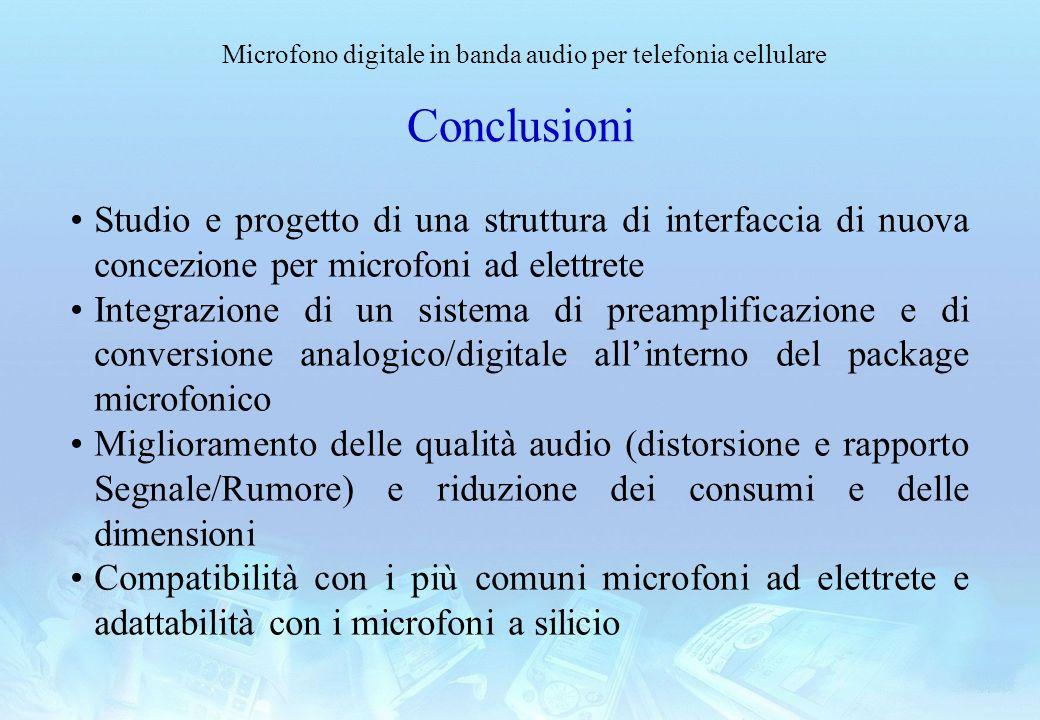 Microfono digitale in banda audio per telefonia cellulare Conclusioni Studio e progetto di una struttura di interfaccia di nuova concezione per microf