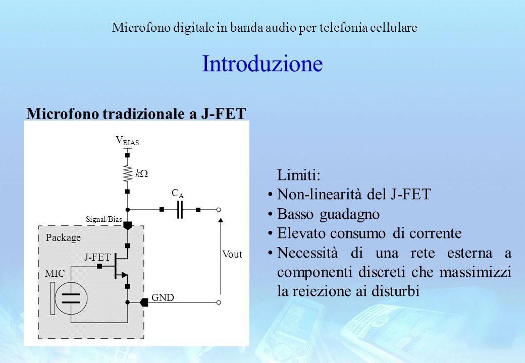 Microfono digitale in banda audio per telefonia cellulare Introduzione Package MIC J-FET CACA k V BIAS Signal/Bias Vout GND Microfono tradizionale a J