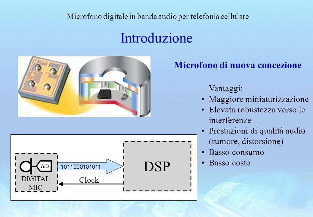 Microfono digitale in banda audio per telefonia cellulare Introduzione Microfono di nuova concezione Vantaggi: Maggiore miniaturizzazione Elevata robu