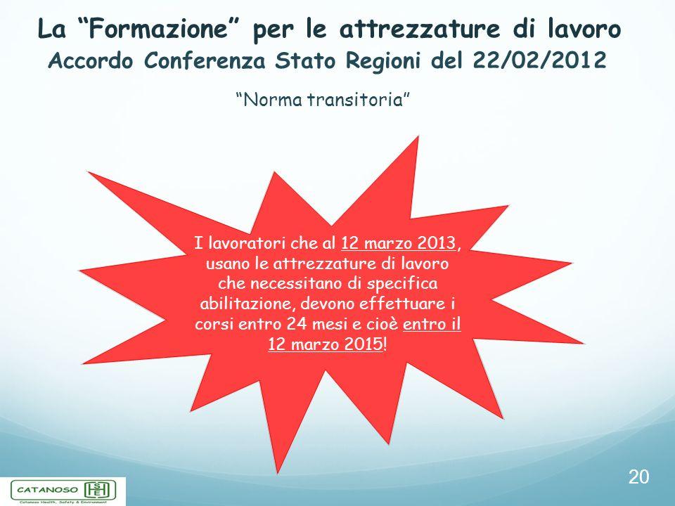 La Formazione per le attrezzature di lavoro 20 Accordo Conferenza Stato Regioni del 22/02/2012 Norma transitoria I lavoratori che al 12 marzo 2013, us
