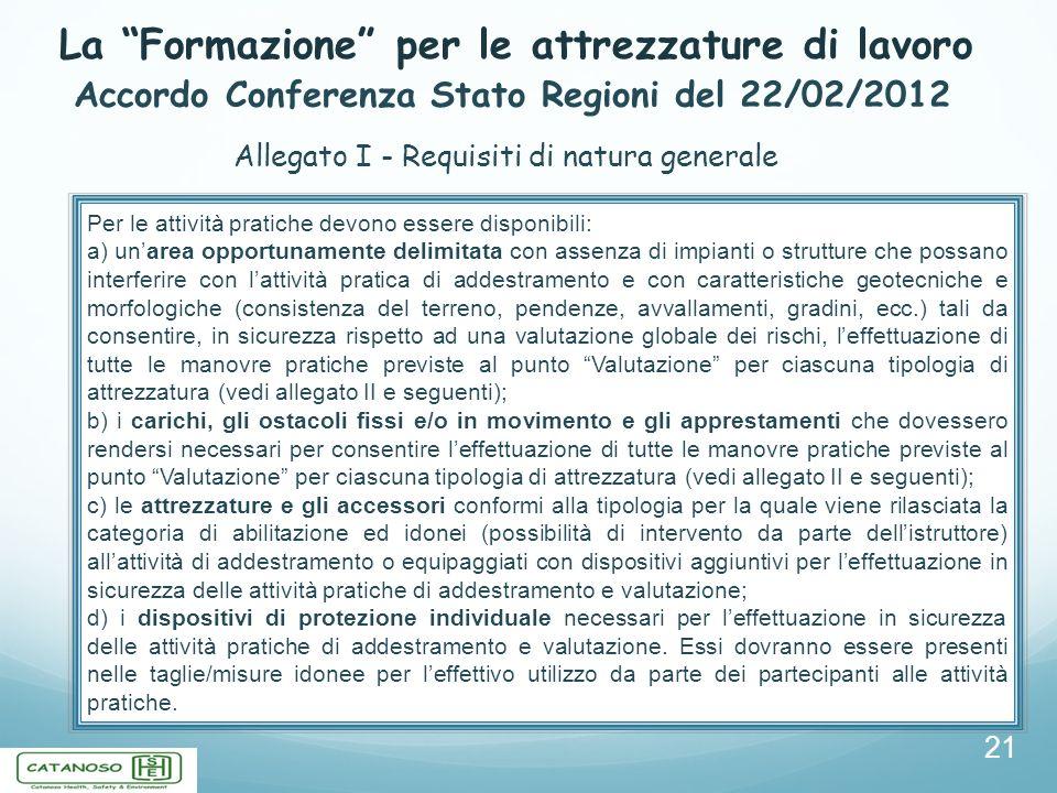 La Formazione per le attrezzature di lavoro 21 Accordo Conferenza Stato Regioni del 22/02/2012 Allegato I - Requisiti di natura generale Per le attivi