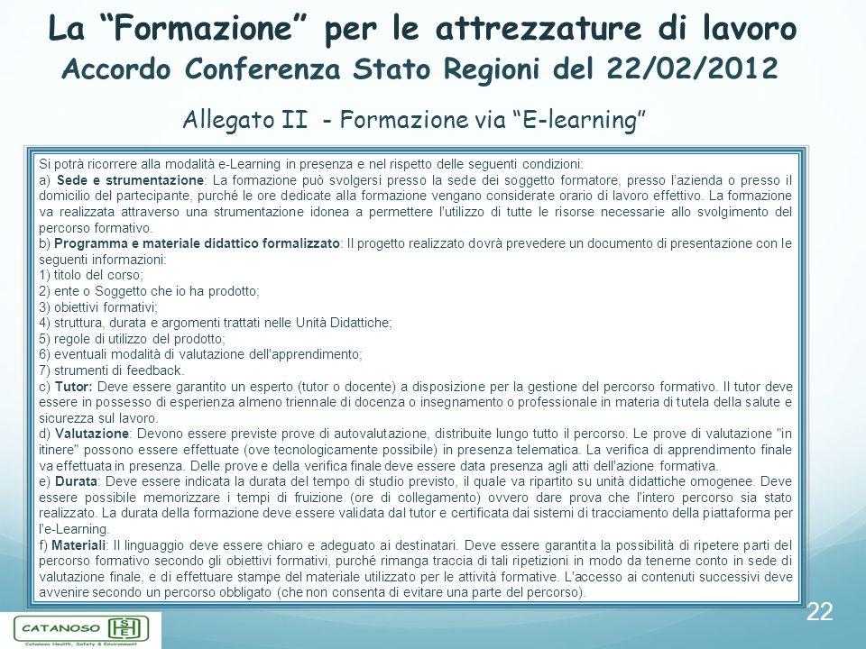 La Formazione per le attrezzature di lavoro 22 Accordo Conferenza Stato Regioni del 22/02/2012 Allegato II - Formazione via E-learning Si potrà ricorr