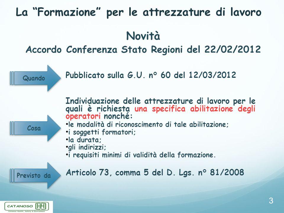 La Formazione per le attrezzature di lavoro 4 Accordo Conferenza Stato Regioni del 22/02/2012 Precisazioni Gli Accordi del 21/12/2011 (non vincolanti) non comprendono la formazione e laddestramento derivanti da obblighi specifici previsti nei Titoli del D.