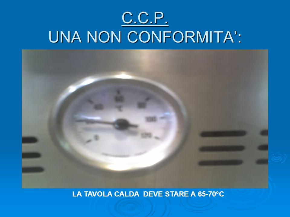 C.C.P. UNA NON CONFORMITA: LA TAVOLA CALDA DEVE STARE A 65-70°C