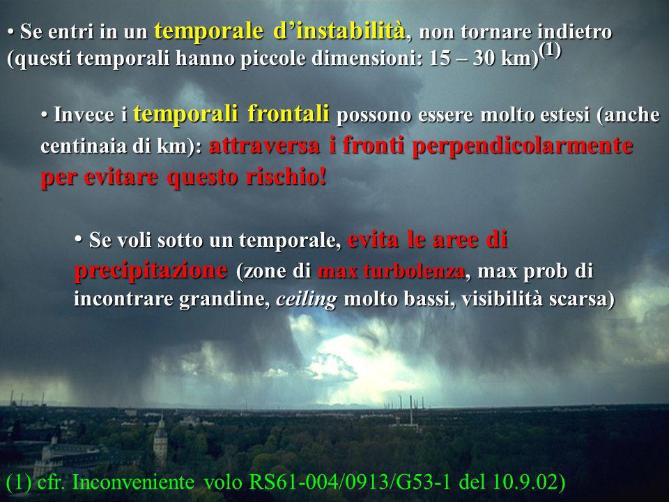 25 Se entri in un temporale dinstabilità, non tornare indietro (questi temporali hanno piccole dimensioni: 15 – 30 km) (1) Se entri in un temporale di