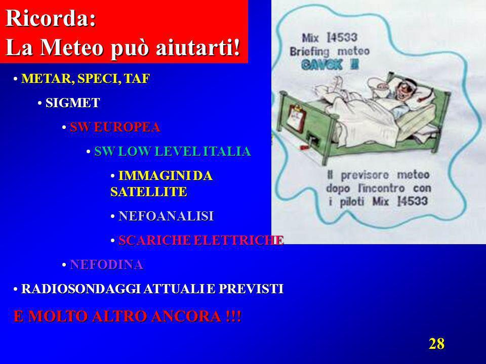 28Ricorda: La Meteo può aiutarti! METAR, SPECI, TAF METAR, SPECI, TAF SIGMET SIGMET SW EUROPEA SW EUROPEA SW LOW LEVEL ITALIA SW LOW LEVEL ITALIA IMMA