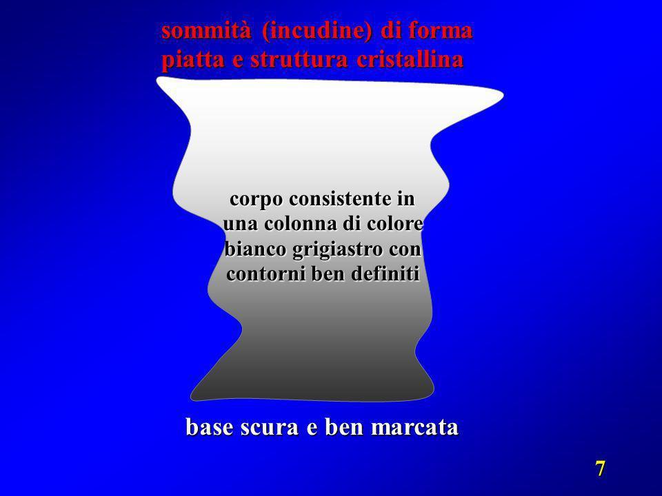 7 base scura e ben marcata corpo consistente in una colonna di colore bianco grigiastro con contorni ben definiti sommità (incudine) di forma piatta e