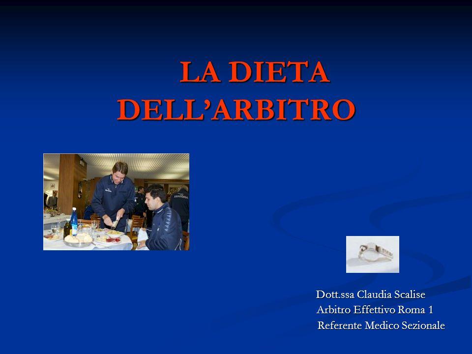 LA DIETA DELLARBITRO LA DIETA DELLARBITRO Dott.ssa Claudia Scalise Dott.ssa Claudia Scalise Arbitro Effettivo Roma 1 Arbitro Effettivo Roma 1 Referent