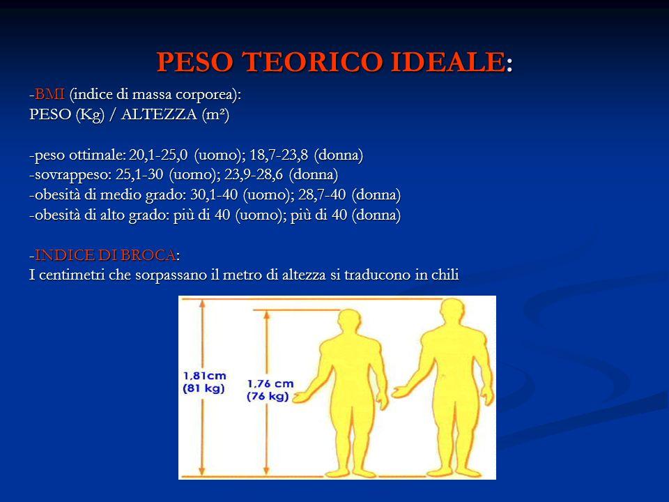 PESO TEORICO IDEALE: -BMI (indice di massa corporea): PESO (Kg) / ALTEZZA (m²) -peso ottimale: 20,1-25,0 (uomo); 18,7-23,8 (donna) -sovrappeso: 25,1-3