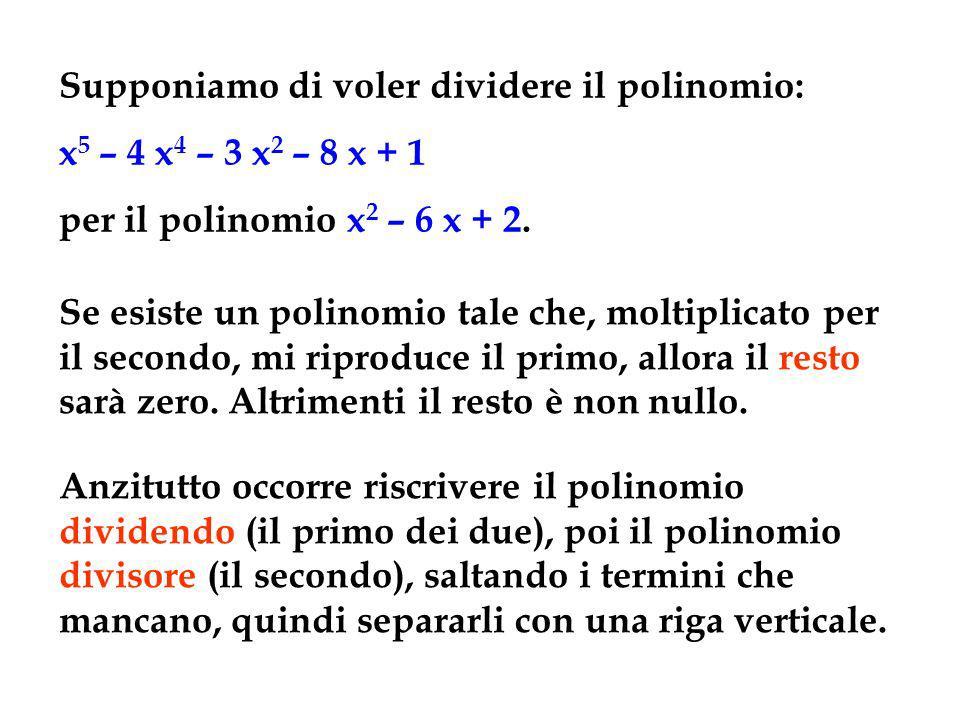 x 5 – 4 x 4 – 3 x 2 – 8 x + 1x 2 – 6 x + 2 Dividiamo anzitutto il monomio x 5 per x 2 ottenendo x 3, che trascriviamo sotto: x3x3 Moltiplichiamo ora tutto il polinomio divisore per lx 3 trovato e trascriviamo il risultato sotto il polinomio dividendo, mettendo in colonna i termini con lo stesso grado, e cambiando ogni volta di segno.