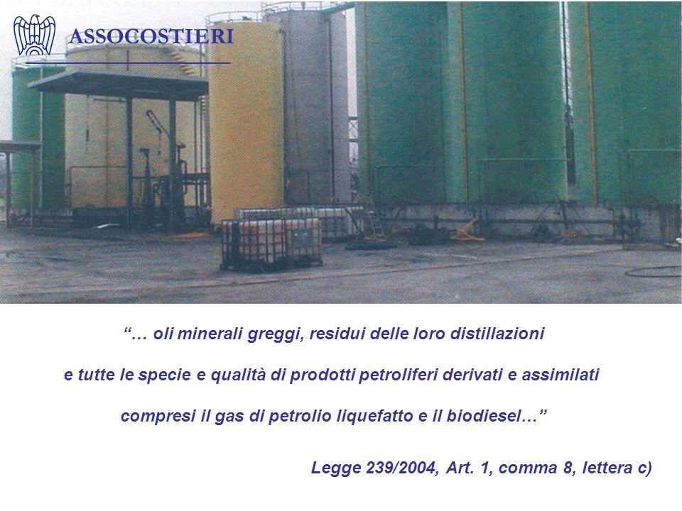 ASSOCOSTIERI … oli minerali greggi, residui delle loro distillazioni e tutte le specie e qualità di prodotti petroliferi derivati e assimilati compres