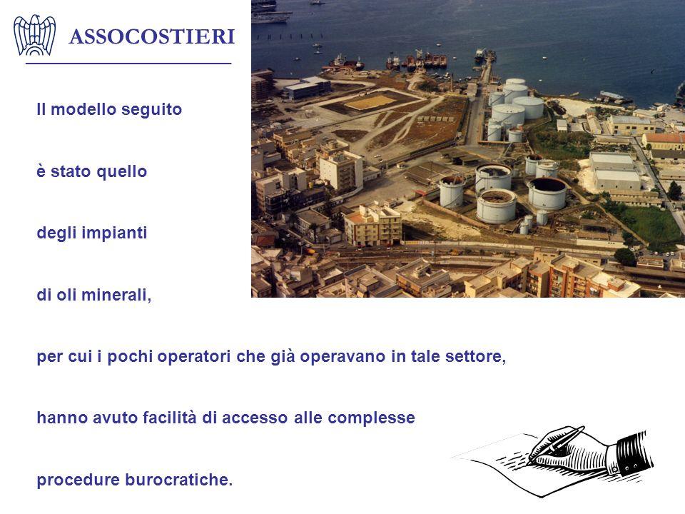 ASSOCOSTIERI Il modello seguito è stato quello degli impianti di oli minerali, per cui i pochi operatori che già operavano in tale settore, hanno avut