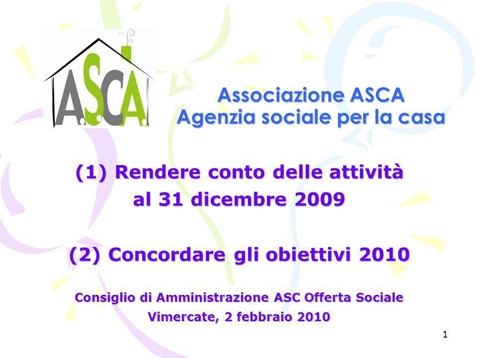 1 Associazione ASCA Agenzia sociale per la casa (1) Rendere conto delle attività al 31 dicembre 2009 (2) Concordare gli obiettivi 2010 Consiglio di Amministrazione ASC Offerta Sociale Vimercate, 2 febbraio 2010