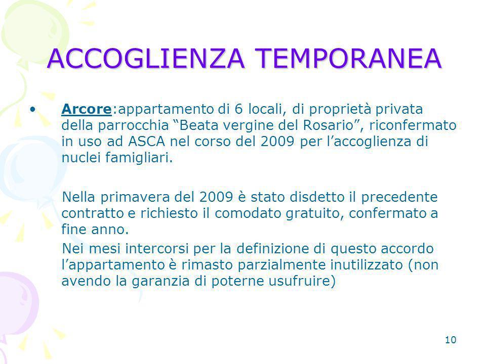 10 ACCOGLIENZA TEMPORANEA Arcore:appartamento di 6 locali, di proprietà privata della parrocchia Beata vergine del Rosario, riconfermato in uso ad ASCA nel corso del 2009 per laccoglienza di nuclei famigliari.