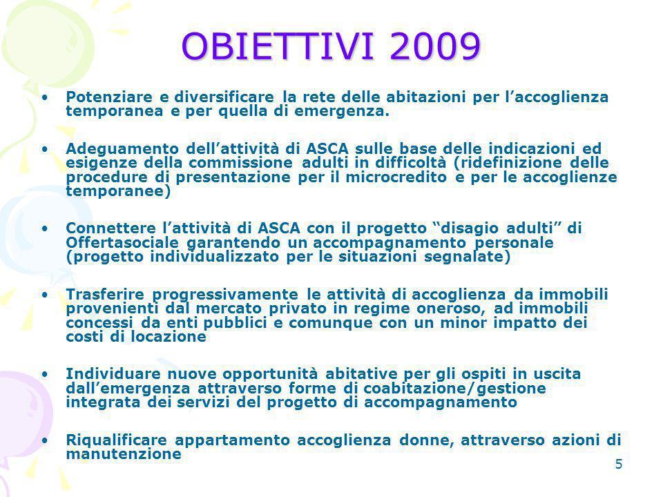 5 OBIETTIVI 2009 Potenziare e diversificare la rete delle abitazioni per laccoglienza temporanea e per quella di emergenza.