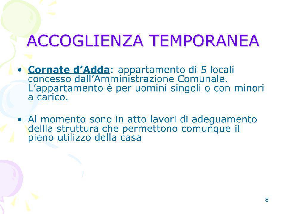 8 ACCOGLIENZA TEMPORANEA Cornate dAdda: appartamento di 5 locali concesso dallAmministrazione Comunale.