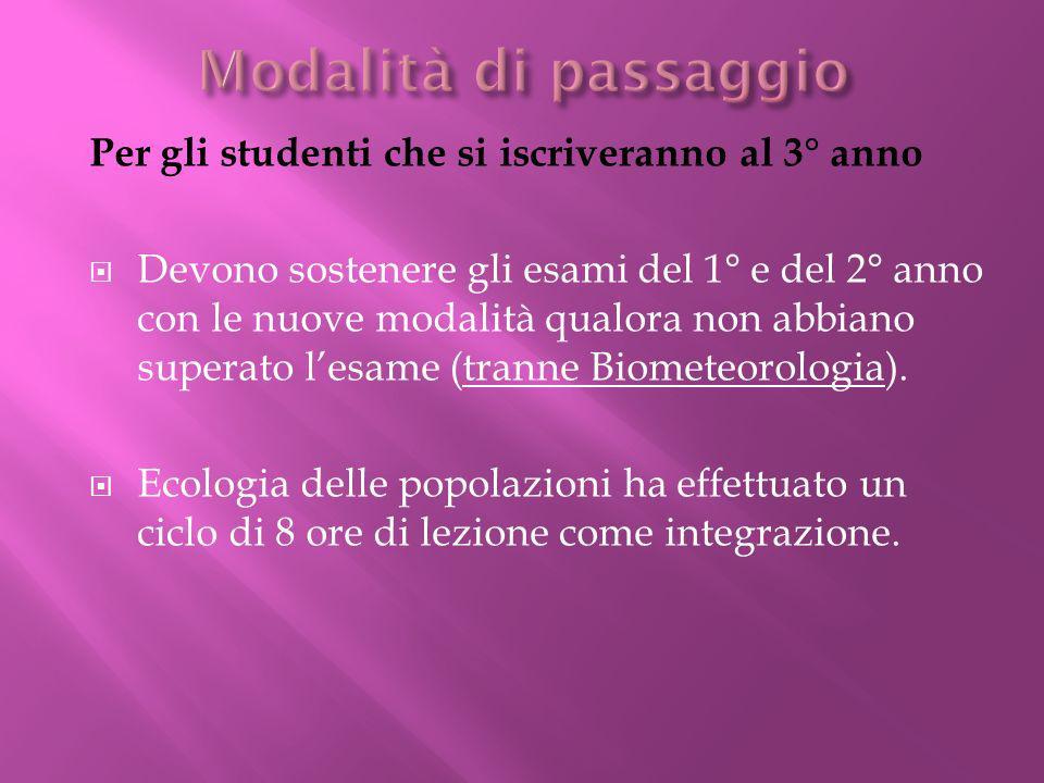 Per gli studenti che si iscriveranno al 3° anno Devono sostenere gli esami del 1° e del 2° anno con le nuove modalità qualora non abbiano superato lesame (tranne Biometeorologia).