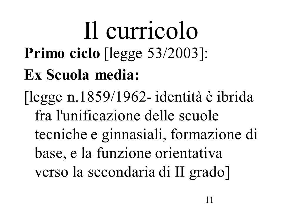 11 Il curricolo Primo ciclo [legge 53/2003]: Ex Scuola media: [legge n.1859/1962- identità è ibrida fra l'unificazione delle scuole tecniche e ginnasi