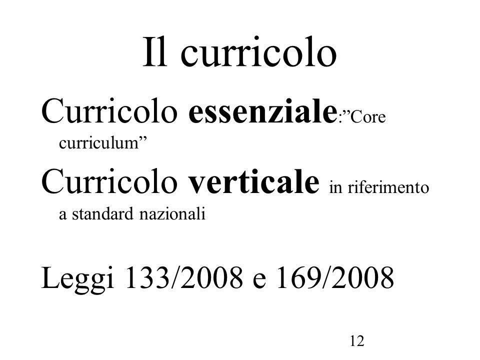12 Il curricolo Curricolo essenziale :Core curriculum Curricolo verticale in riferimento a standard nazionali Leggi 133/2008 e 169/2008