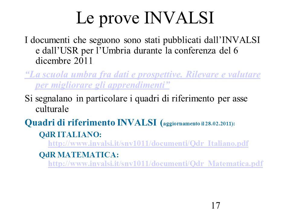17 Le prove INVALSI I documenti che seguono sono stati pubblicati dallINVALSI e dallUSR per lUmbria durante la conferenza del 6 dicembre 2011 La scuol