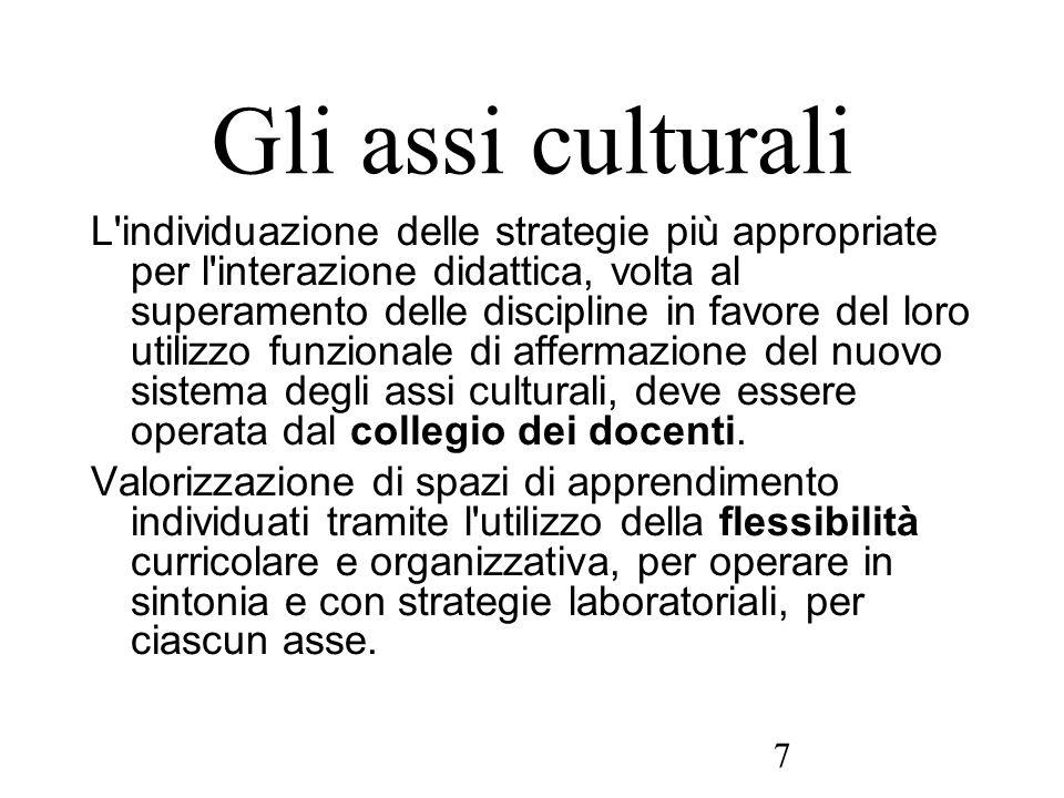 7 Gli assi culturali L'individuazione delle strategie più appropriate per l'interazione didattica, volta al superamento delle discipline in favore del