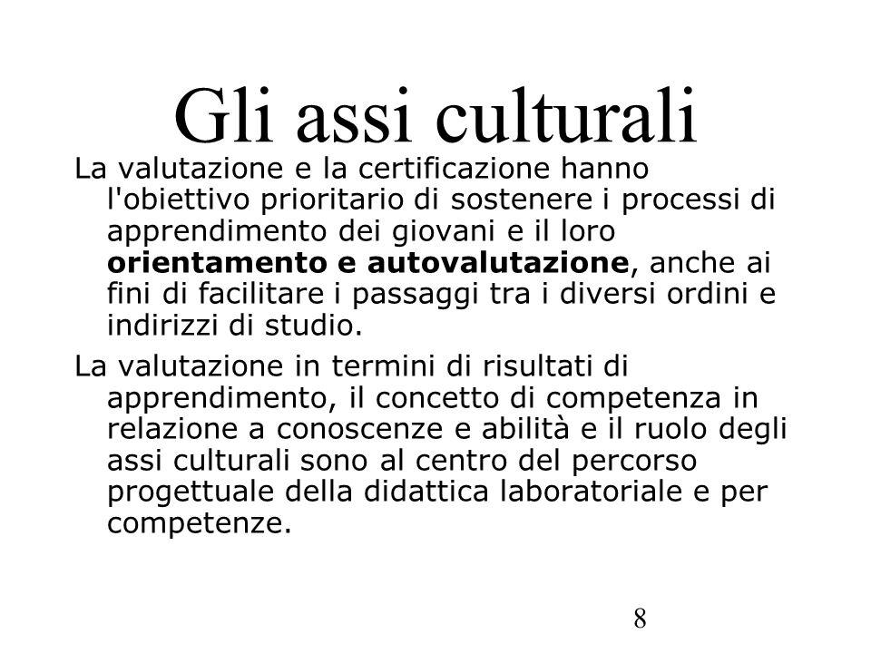 8 Gli assi culturali La valutazione e la certificazione hanno l'obiettivo prioritario di sostenere i processi di apprendimento dei giovani e il loro o