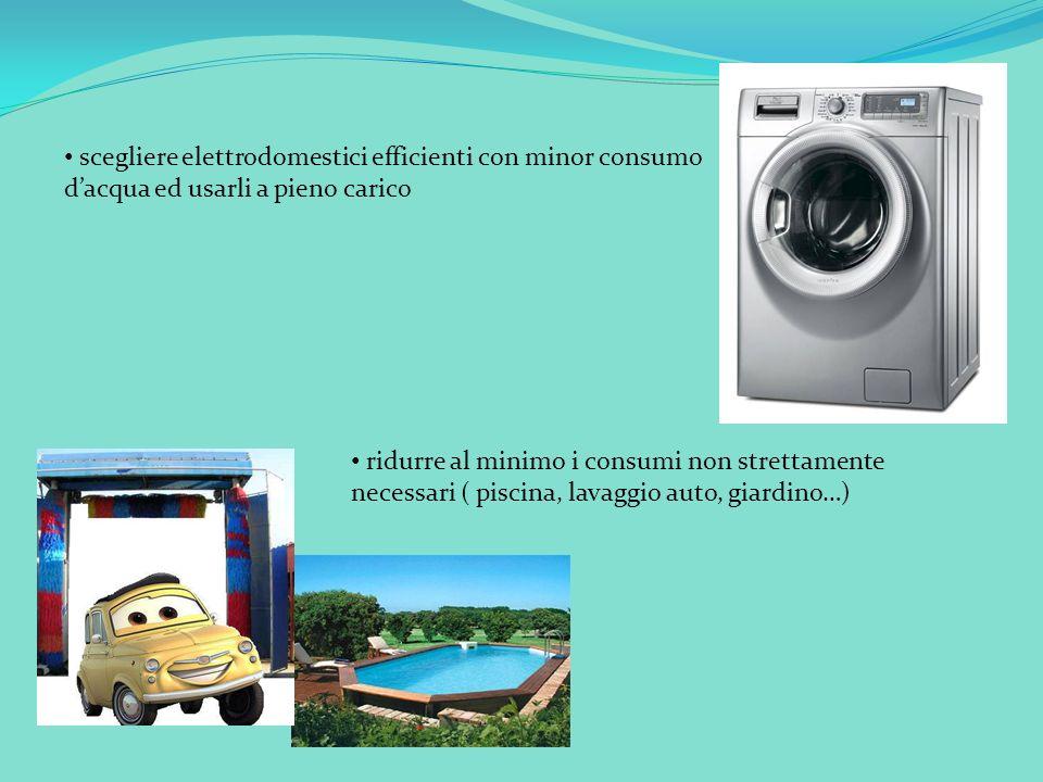 scegliere elettrodomestici efficienti con minor consumo dacqua ed usarli a pieno carico ridurre al minimo i consumi non strettamente necessari ( piscina, lavaggio auto, giardino…)