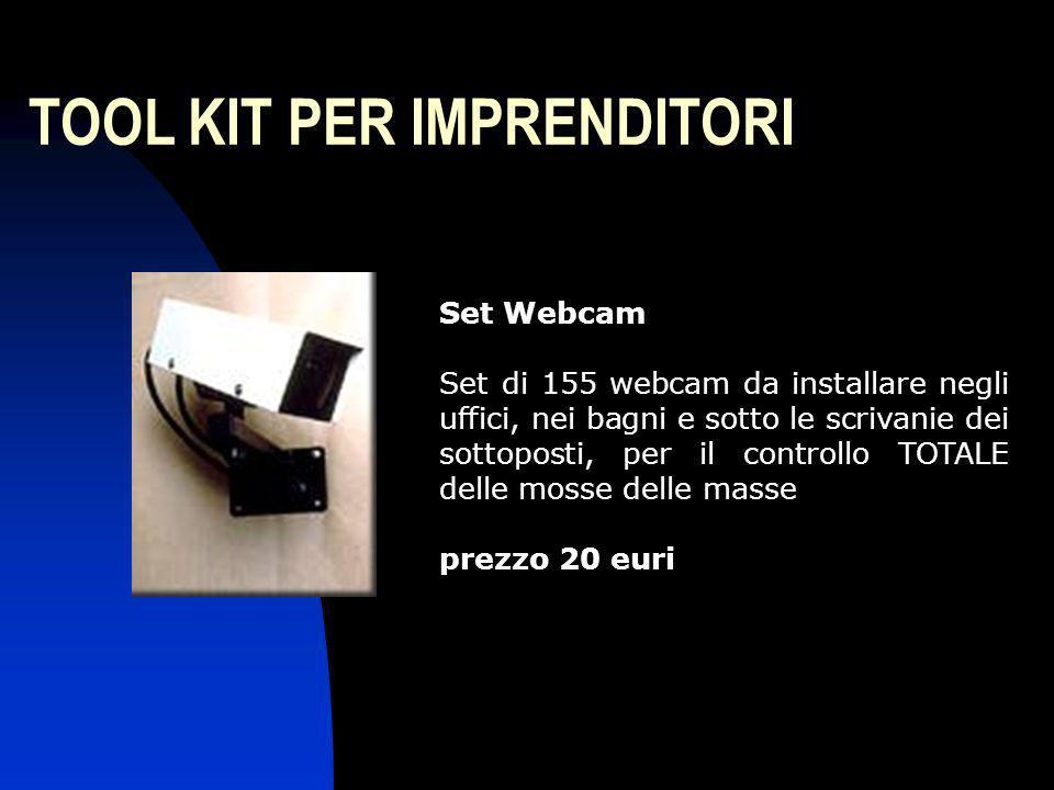TOOL KIT PER IMPRENDITORI Set Webcam Set di 155 webcam da installare negli uffici, nei bagni e sotto le scrivanie dei sottoposti, per il controllo TOT