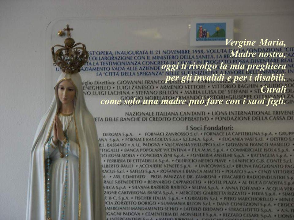 Vergine Maria, Madre nostra, oggi ti rivolgo la mia preghiera per gli invalidi e per i disabili. Curali come solo una madre può fare con i suoi figli.