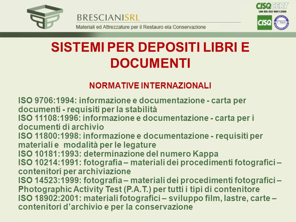 SISTEMI PER DEPOSITI LIBRI E DOCUMENTI NORMATIVE INTERNAZIONALI ISO 9706:1994: informazione e documentazione - carta per documenti - requisiti per la