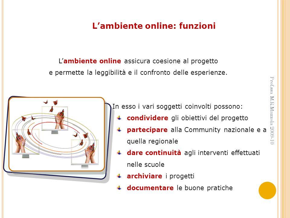 Lambiente online assicura coesione al progetto e permette la leggibilità e il confronto delle esperienze. In esso i vari soggetti coinvolti possono: c