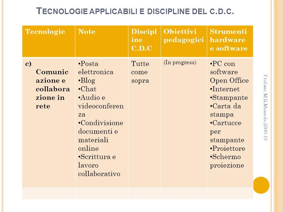 T ECNOLOGIE APPLICABILI E DISCIPLINE DEL C. D. C. TecnologieNoteDiscipl ine C.D.C Obiettivi pedagogici Strumenti hardware e software c) Comunic azione
