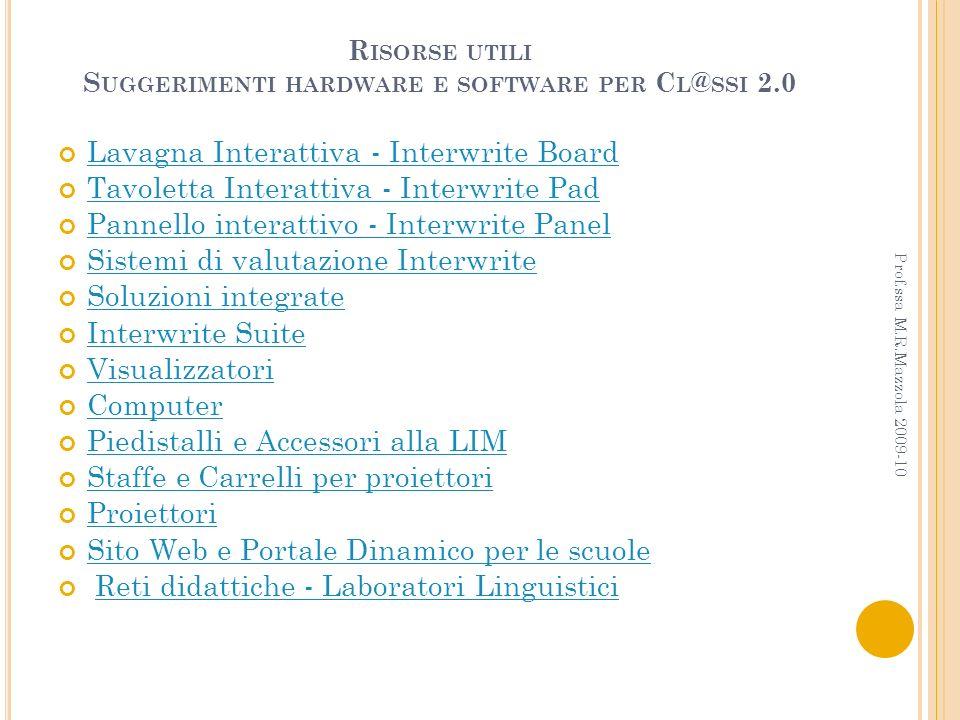 R ISORSE UTILI S UGGERIMENTI HARDWARE E SOFTWARE PER C L @ SSI 2.0 Lavagna Interattiva - Interwrite Board Tavoletta Interattiva - Interwrite Pad Panne