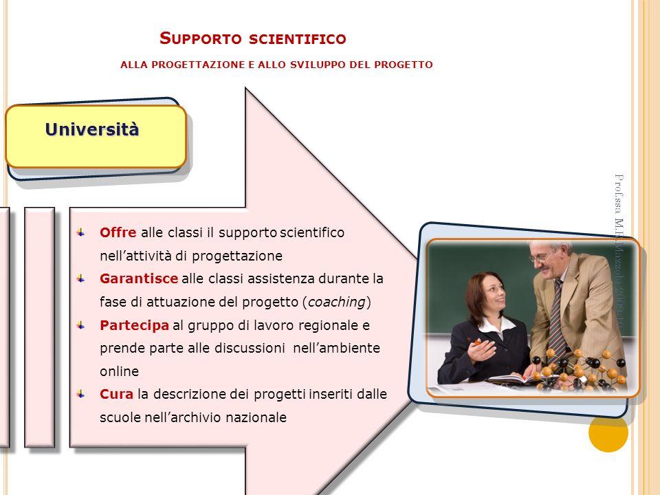 S UPPORTO SCIENTIFICO ALLA PROGETTAZIONE E ALLO SVILUPPO DEL PROGETTO Università Offre alle classi il supporto scientifico nellattività di progettazio